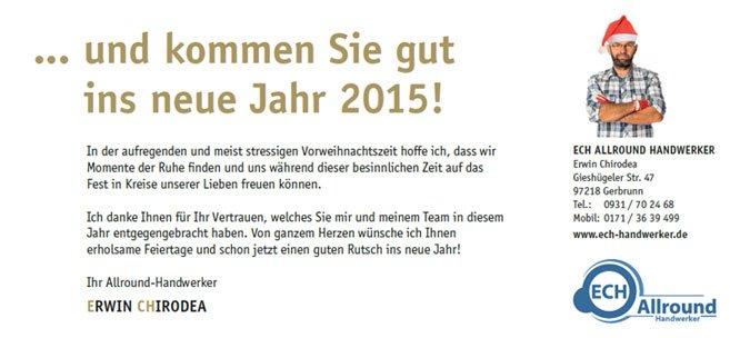 Wir wünschen allen unseren Kunden und Partner frohe Weihnachten. Wir danken für die Zusammenarbeit in 2014.